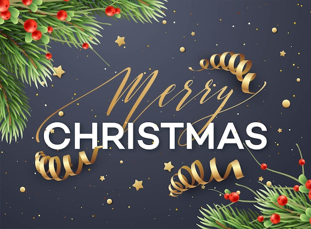 メリークリスマスグリーティングカードベクトルテンプレート。ストリーマー、キラキラ、星とメリークリスマスのレタリング。リアルなモミの木の枝とヤドリギの小枝。クリスマスホリデーポスター、バナーデザイン