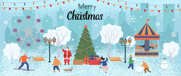 Merry christmas greeting card. winter in the park with people, a christmas tree with gifts, a carousel horses, ferris wheel, snowman and santa claus. vector flat cartoon illustration.