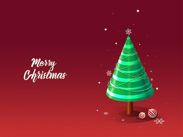 Merry christmas greeting card  with 3d decorative xmas tree, baubles and snowflakes on red .