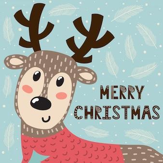 かわいい鹿とメリークリスマスのグリーティングカード。