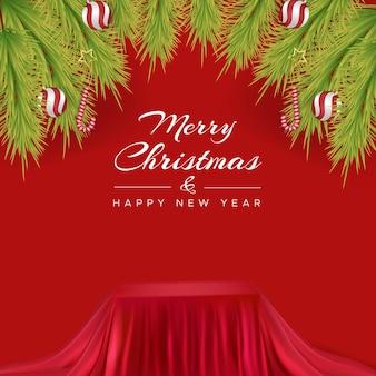 Поздравительная открытка с рождеством и подиумом, обитым мягкой красной тканью