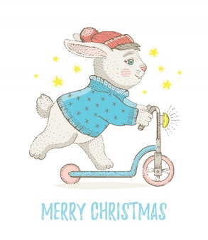 Merry christmas greeting card with bunny