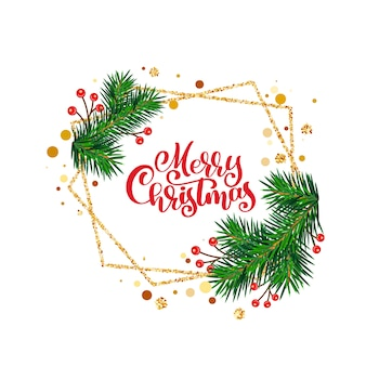 Merry christmas greeting card with calligraphy
