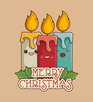 Merry christmas greeting card with candles