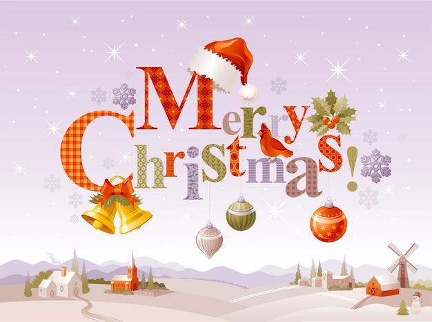 만화 겨울 풍경과 메리 크리스마스 인사말 카드