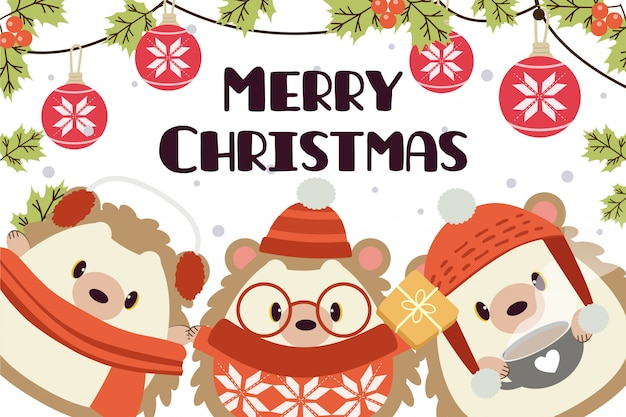 Merry christmas greeting card with characters of cute hedgehog