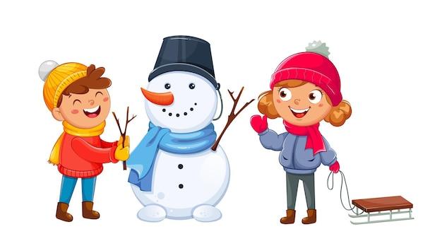 С рождеством христовым открытка с веселыми детьми, играющими со снеговиком, милыми героями мультфильмов. привет зимняя концепция. фондовый вектор иллюстрация на белом фоне