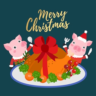 Merry christmas greeting card with chicken roast whole.