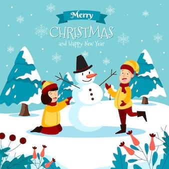 雪だるまとテキストを作る子供たちとメリークリスマスグリーティングカード
