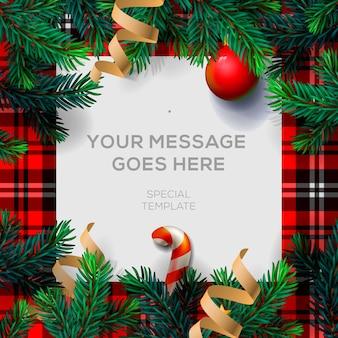 С рождеством христовым открытка с рождественским декором еловых веток и конфетти,