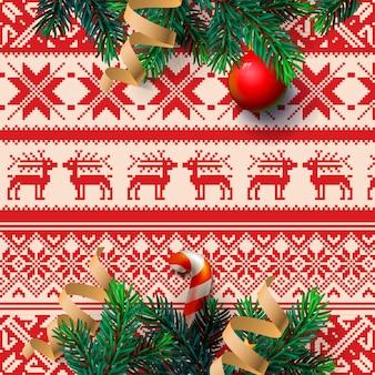 Chrirstmasの装飾のモミの小枝と紙吹雪のメリークリスマスグリーティングカード、。