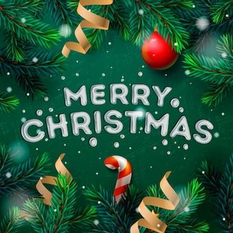 Chrirstmas 장식 전나무 나뭇 가지와 색종이와 메리 크리스마스 인사말 카드,