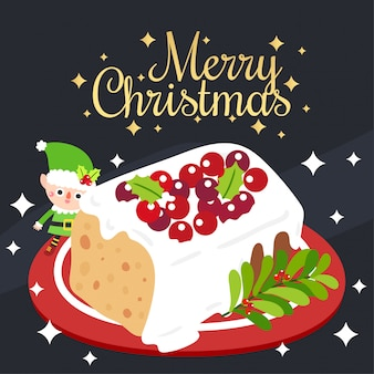 Merry christmas greeting card with christmas fruit cake.