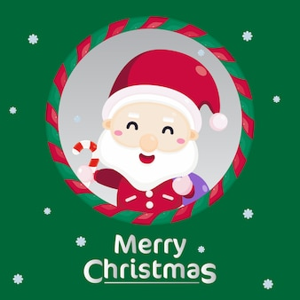 Merry christmas greeting card with christmas ornament.