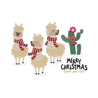 Merry Christmas greeting card with cute alpaca wear red scarf