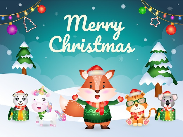 Merry christmas greeting card with cute animals character : fox, tiger, unicorn, koala and panda