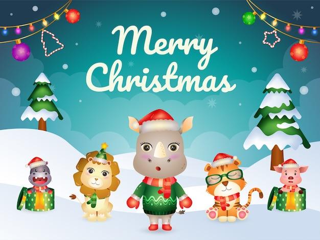かわいい動物キャラクターのメリークリスマスグリーティングカード:サイ、ライオン、ブタ、カバ、トラ