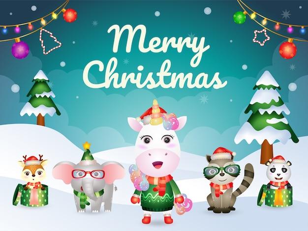 かわいい動物キャラクターのメリークリスマスグリーティングカード:ユニコーン、アライグマ、パンダ、象、鹿