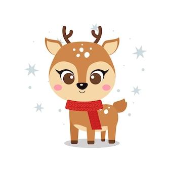 귀여운 아기 순록과 함께 메리 크리스마스 인사말 카드