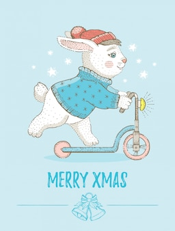 Merry christmas greeting card with cute bunny. sketch rabbit on scooter. cartoon vector illustration.