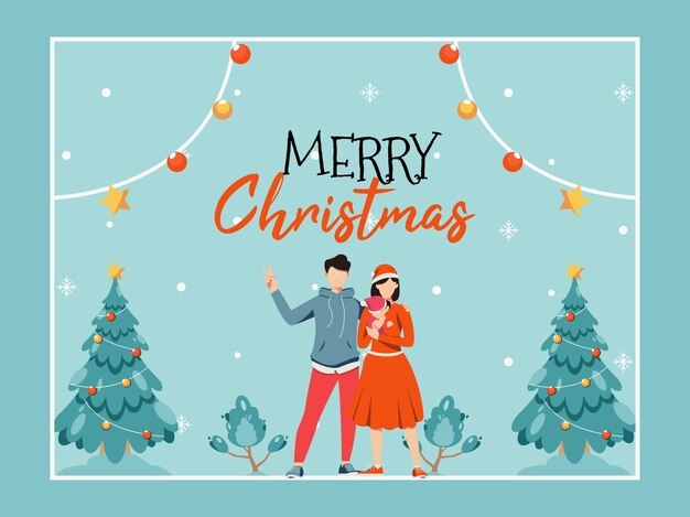 Merry christmas greeting card with cute cartoon family