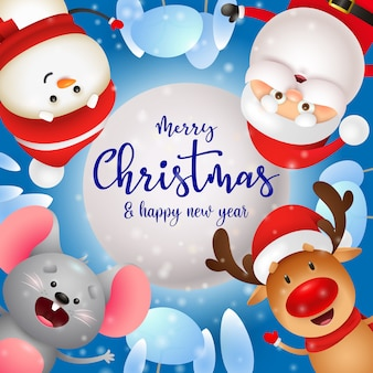 Merry christmas greeting card with cute characters