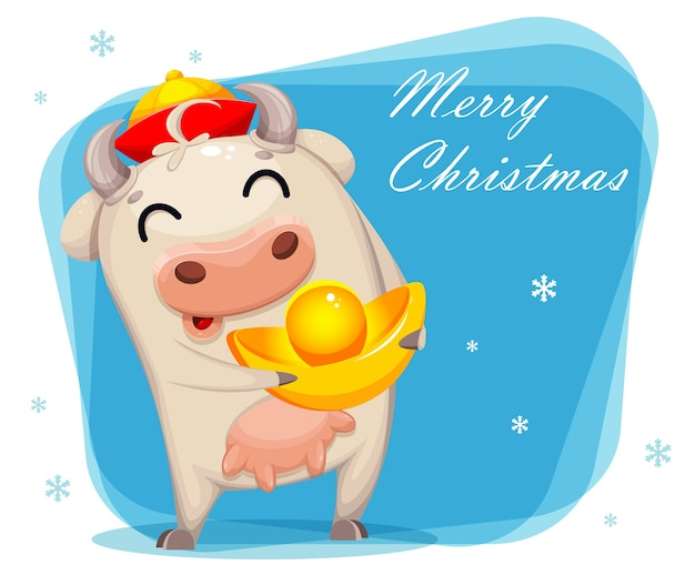 Merry christmas greeting card with cute cow