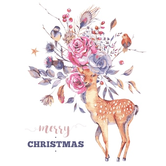 Merry christmas greeting card with cute deer and flowers