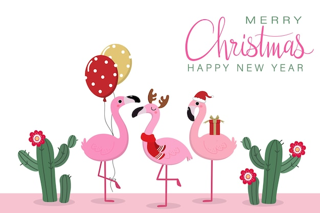 Merry christmas greeting card with cute flamingos