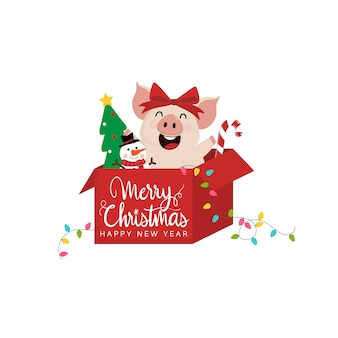 Merry christmas greeting card with cute happy  pig.