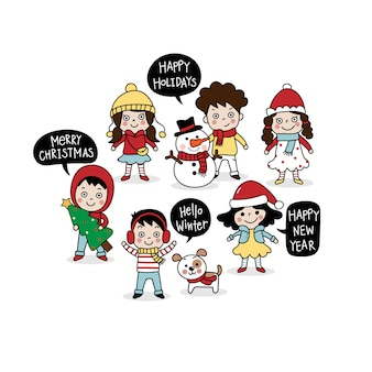 Merry christmas greeting card with cute kids.