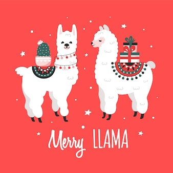 Merry christmas greeting card with cute lamas.