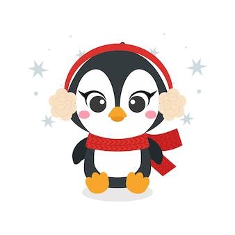 С рождеством христовым открытка с милым маленьким пингвином