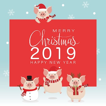 Merry christmas greeting card with cute pig