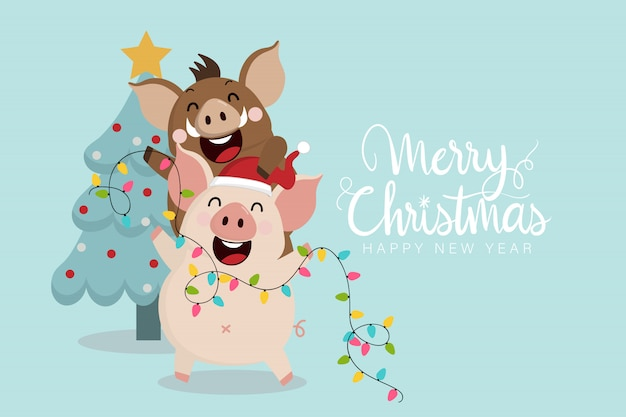 Merry christmas greeting card with cute piggy and boar.