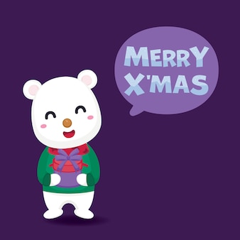 Merry christmas greeting card with cute polar bear and gift box.