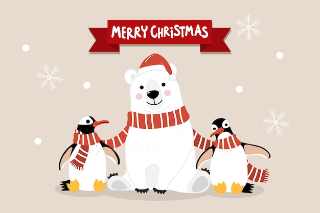 Merry christmas greeting card with cute polar bear and penguins with long red scarf