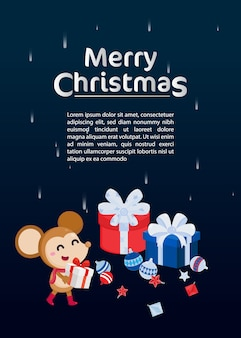 Merry christmas greeting card with cute rat.