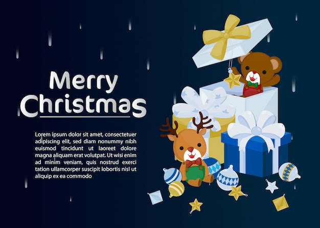 Merry christmas greeting card with cute reindeer and bear in gift box.