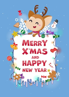 Merry christmas greeting card with cute reindeer.