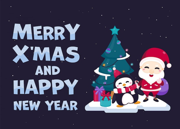 Merry christmas greeting card with cute santa claus, reindeer and christmas tree.