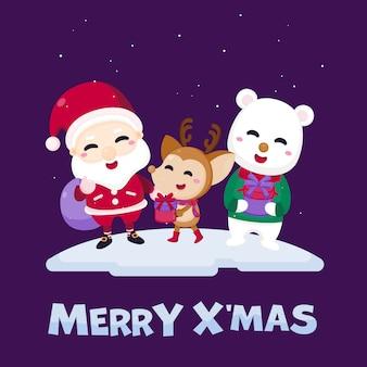 Merry christmas greeting card with cute santa claus, reindeer and polar bear.