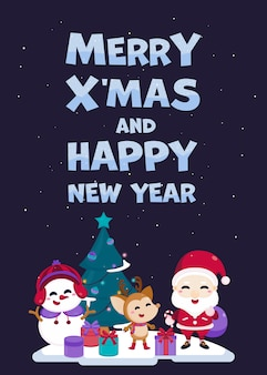 Merry christmas greeting card with cute santa claus, reindeer, snowman and christmas tree.