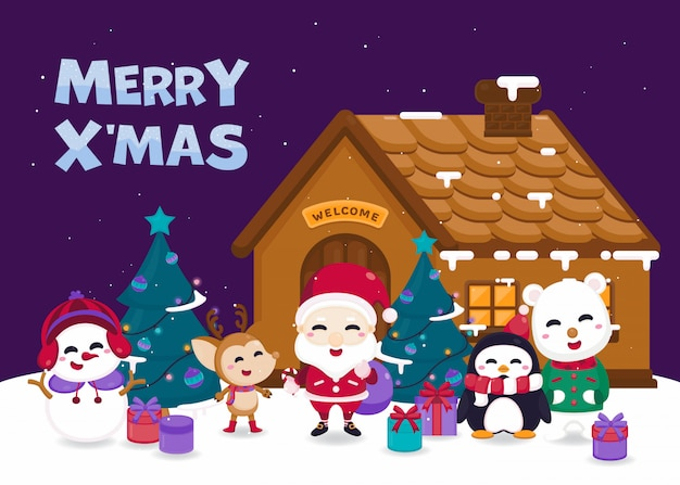Merry christmas greeting card with cute santa claus, reindeer, snowman, polar bear and penguin in winter village.