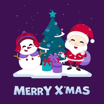 Merry christmas greeting card with cute santa claus, snowman, christmas tree and gift box.