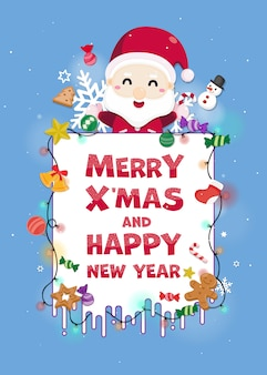 Merry christmas greeting card with cute santa claus.