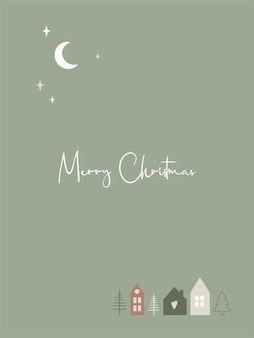 Merry christmas greeting card with cute scandinavian houses and text. vector template for new year, gift tag, calendar, planner, invitations, posters.