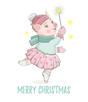 Merry christmas greeting card with dancing pig
