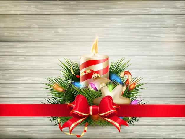 装飾が施されたメリークリスマスのグリーティングカード。