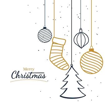 装飾品が入ったメリークリスマスグリーティングカード